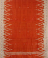 Handwoven Orange Offwhite Khandua Silk Saree