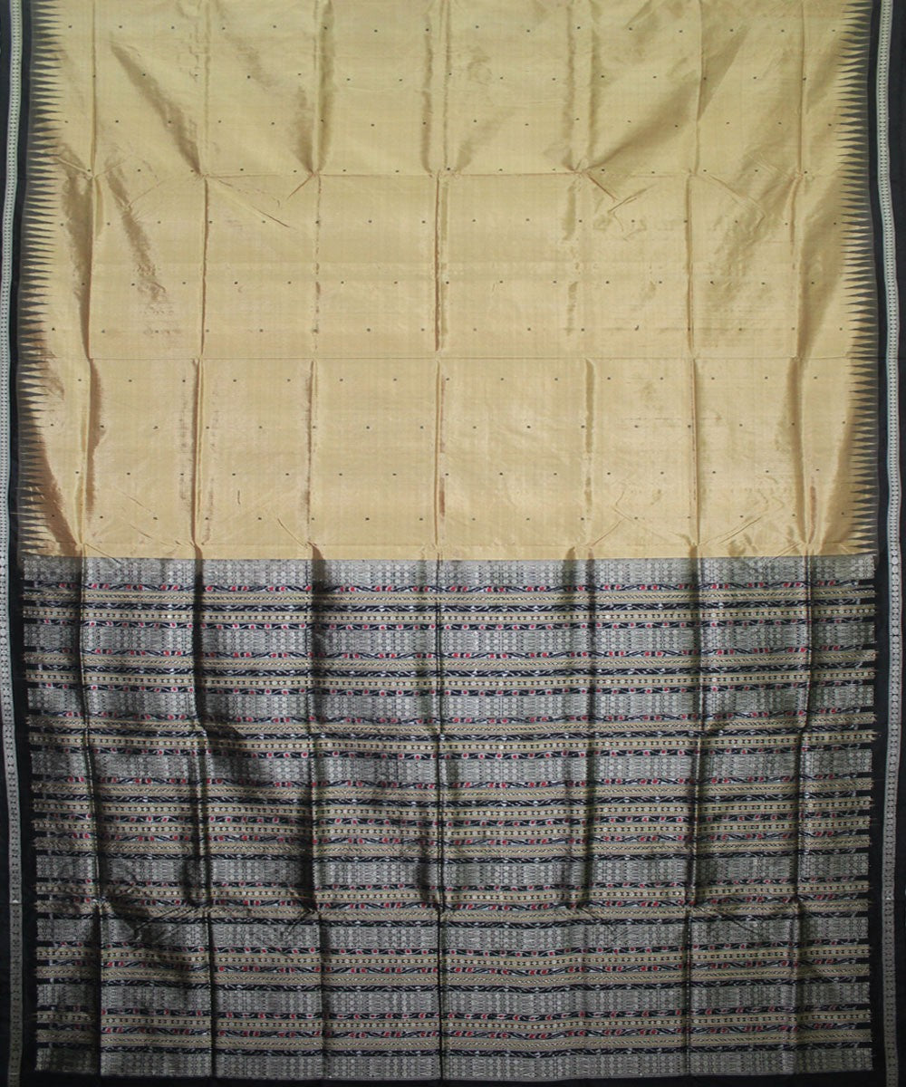 Handwoven Bomkai Silk Saree of Sonepur in Beige and Black