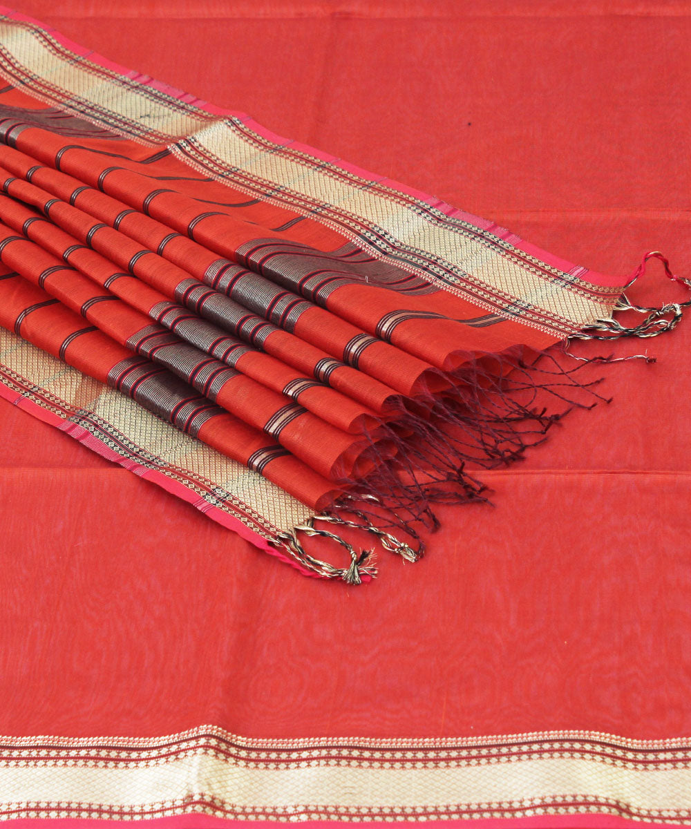 Fire Orange Handwoven Maheshwari Sico Saree