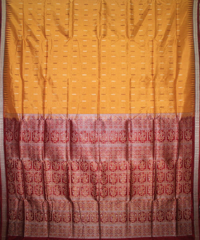 Handwoven Bomkai Silk Saree of Sonepur in Golden and Maroon