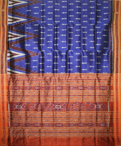 Handwoven Khandua Silk Saree of Nuapatna in Blue and Orange