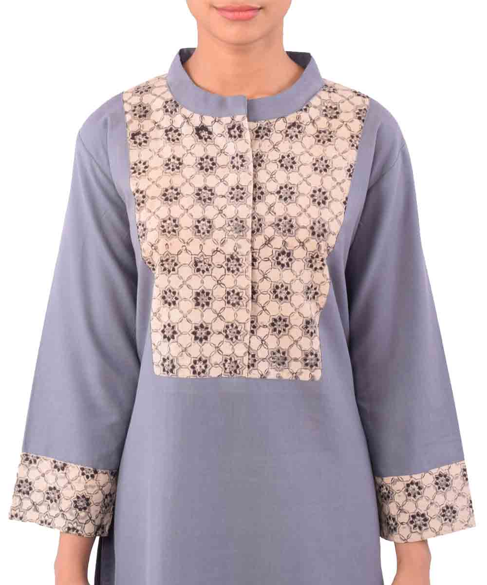 Grey With Beige Black Handwoven Ajrakh Kurti