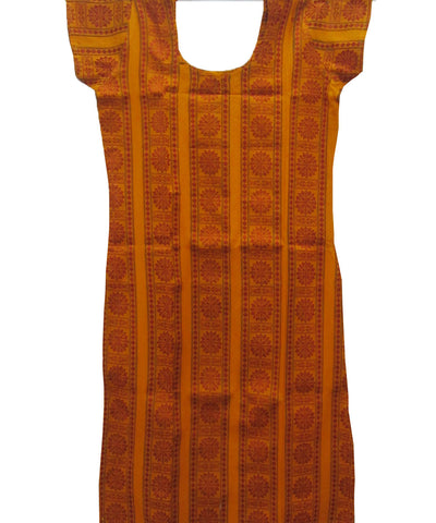 Light Orange &  Maroon Traditional Cotton Kurti
