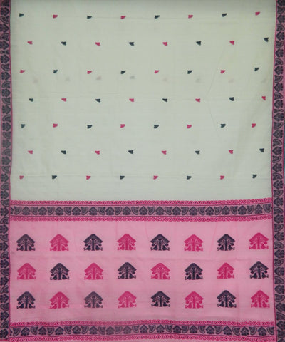 White and Pink Assam Cotton Saree