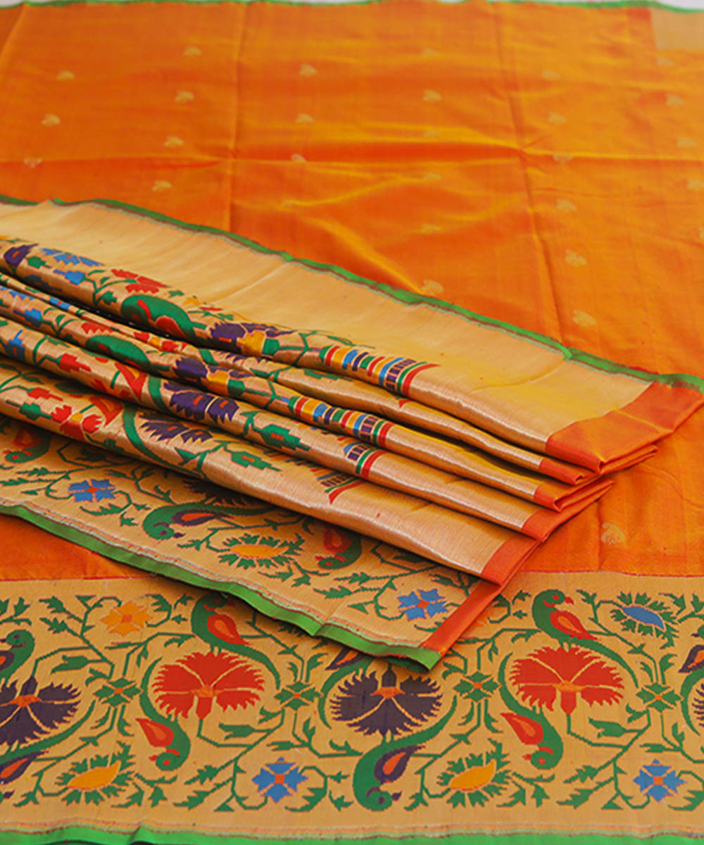 Banarasi Orange Handloom Silk Saree