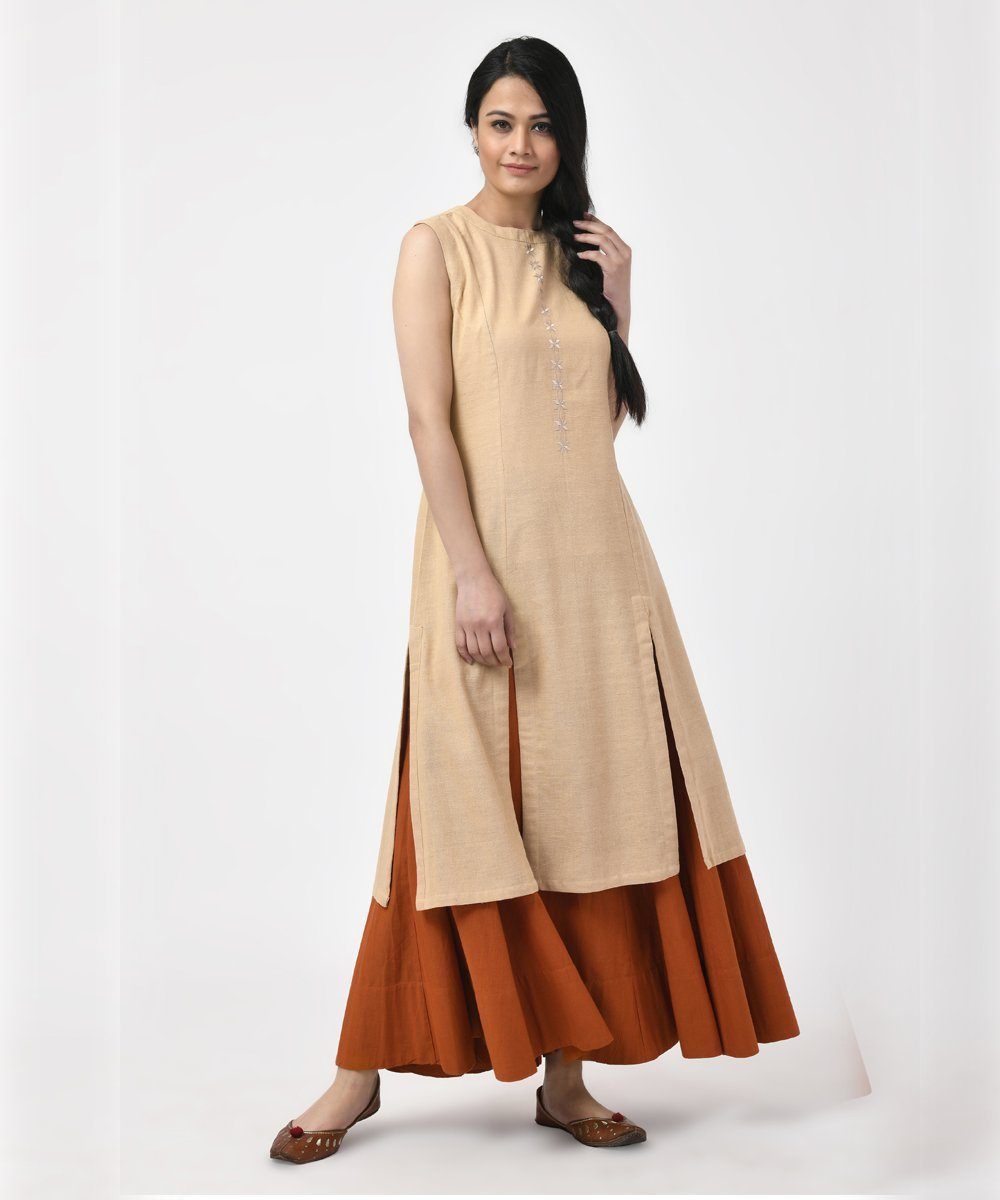 Beige Sleeveless Cotton Slit Kurti