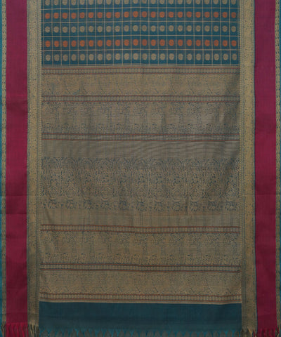 Thousand Butta Handwoven Blue Kanchi Saree