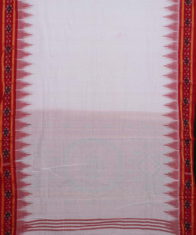 White Red Handwoven Nuapatna Odisha Cotton Saree