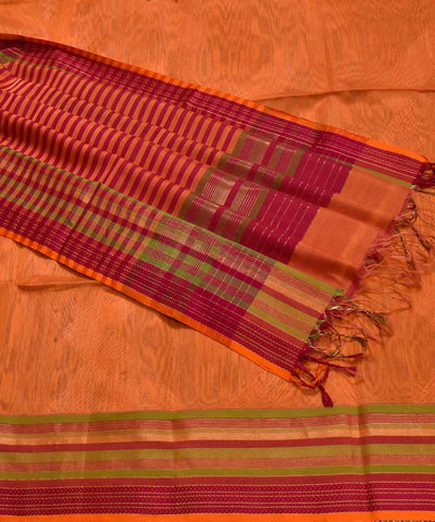 Handwoven Tiger Orange Maheshwari Sico Saree