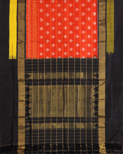 Orange and Black Handloom Ikat Rajkot Silk Saree