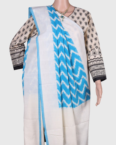 Ikat Cotton Dupatta In Sky blue Color with Wavy Pattern
