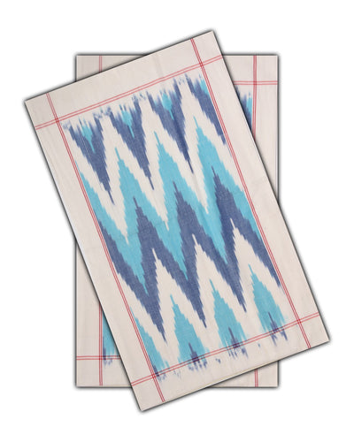 Handwoven Ikat Cotton Double Cot Bedsheet In Blue Color