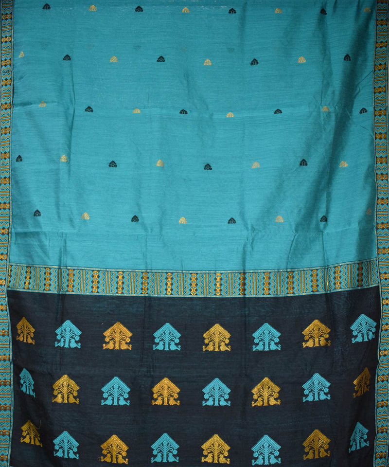 Blue and Black Handloom Assam Cotton Saree