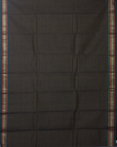 Dark Choclate Brown Handwoven Narayanapeta Cotton Saree