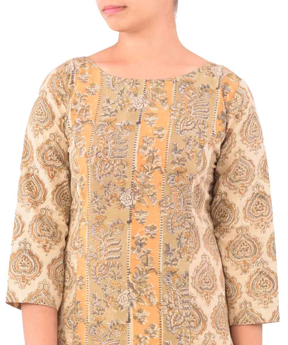 Beige With Olive Hand Printed Kurti