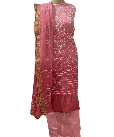 Pastel pink bandhej cotton unstitched dress material
