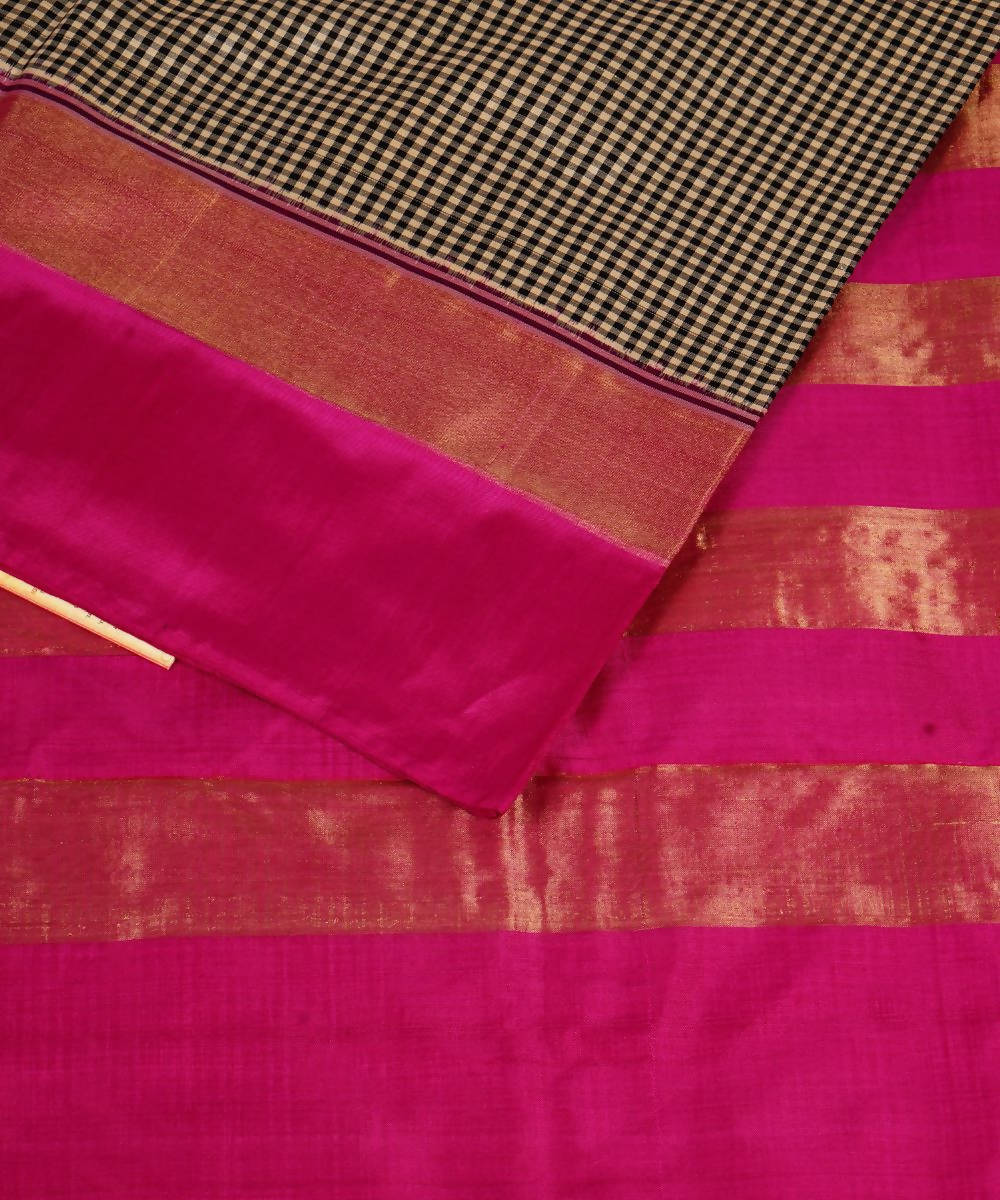 Black White Checks Handloom Ikkat Silk Saree