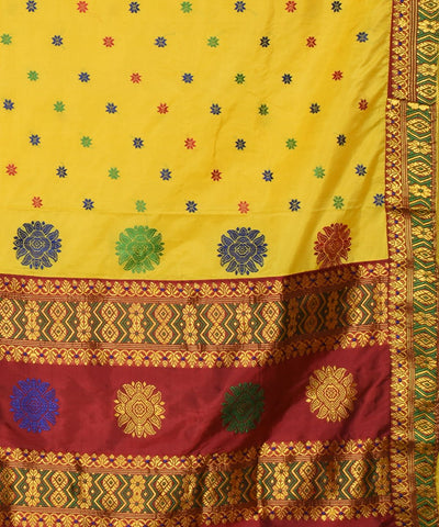 Yellow and Maroon Assam Handloom Silk Saree