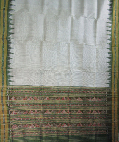 Nuapatna White and Green Khandua Silk Saree
