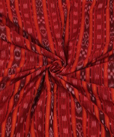 Red Striped Nuapatna Handloom Cotton Fabric