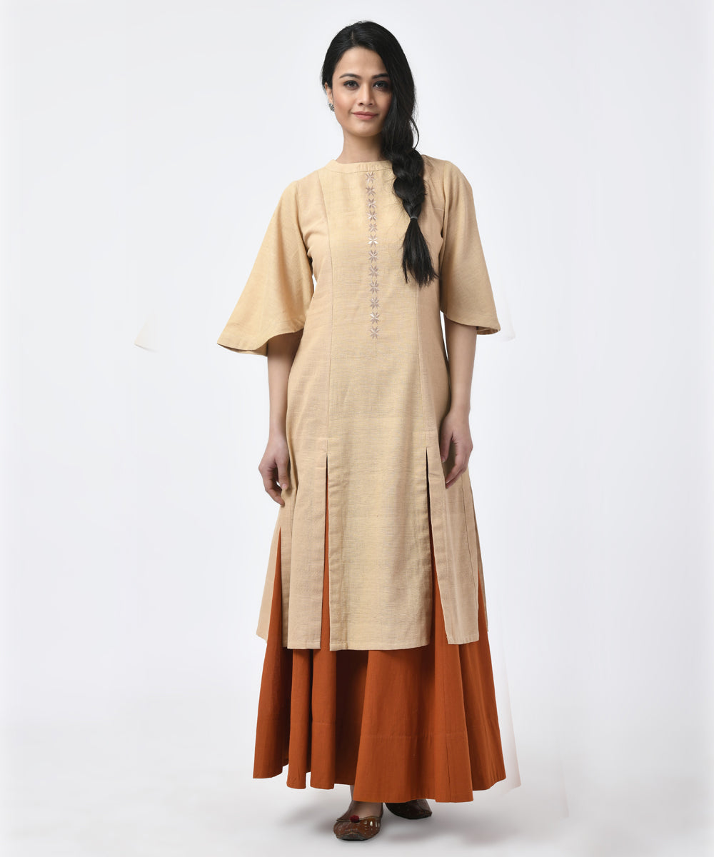 Beige with Sleeve Cotton Slit Kurti