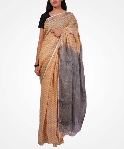 Handwoven Latte And Black Linen Saree
