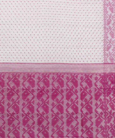 Bengal Handloom White with Pink Jamdani Saree