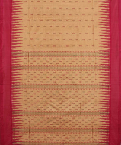 Latte Pink Handwoven Bomkai Silk Saree