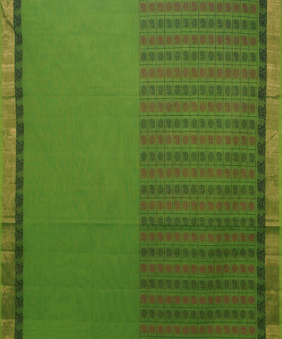 Thousand Butta Handwoven Green Kanchi Saree