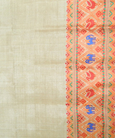 Beige Orange Handwoven Muga Silk Saree