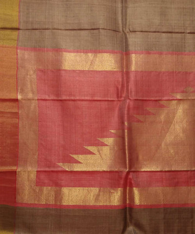 Handwoven Brown Red Tussar Silk Saree
