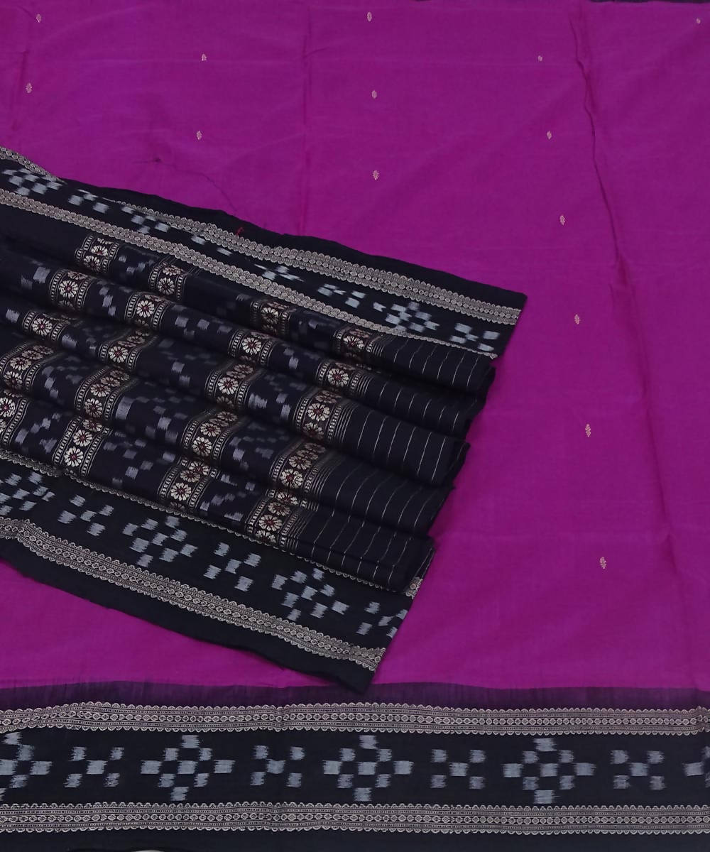 Handwoven magenta black bomkai cotton saree