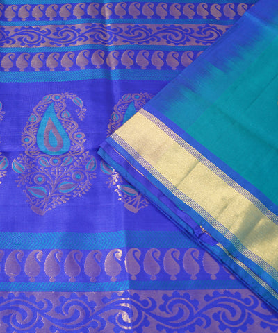 Sky and Navy Blue Handloom Soft Silk Saree