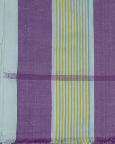 White and Purple Color Handloom Changai Cotton Towel