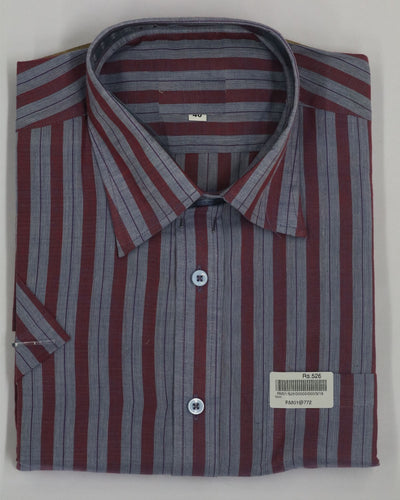 Maroon & Grey Color Stripes Pattern Cotton Shirt