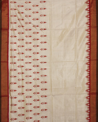 Handwoven Ikat Rajkot Silk Saree In red and cream colour