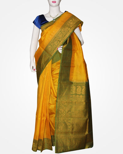 Yellow & Green Color Handloom Gadwal Silk Saree