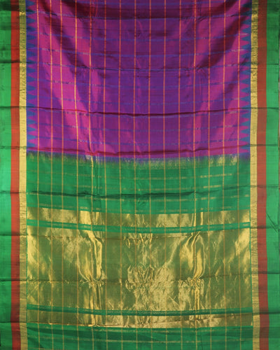 Handloom Pure Gadwal Silk Saree in Purple Shade