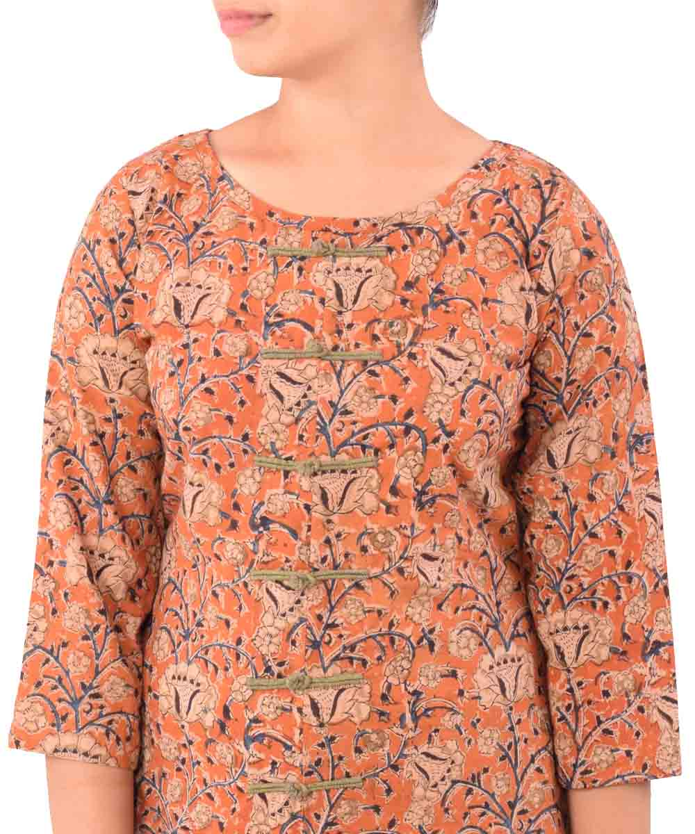 Beige With Rust Orange Hand Printed Kurti