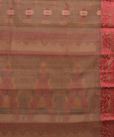 Brown and Red Bengal Handwoven Cotton Saree