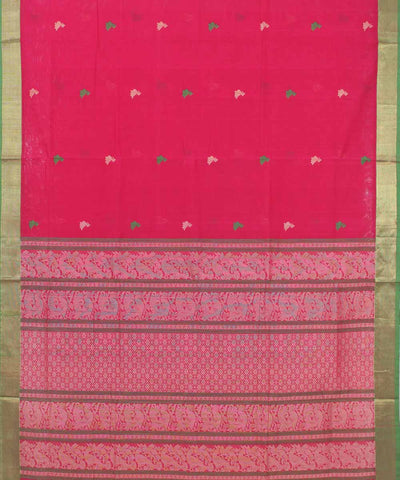 Dark Pink Handwoven Kanchi Cotton Saree