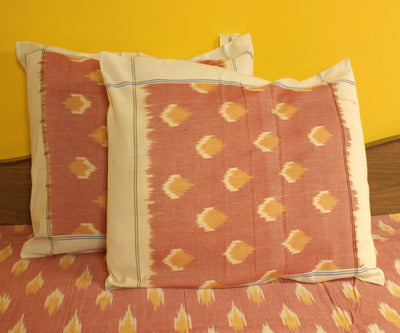 Pink and Mustard Handwoven Ikat Bed Sheet