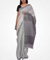Handwoven Light Mint And Black Linen Saree