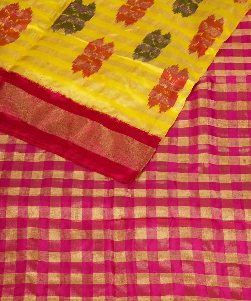 Handloom Yellow Pochampally Silk Saree