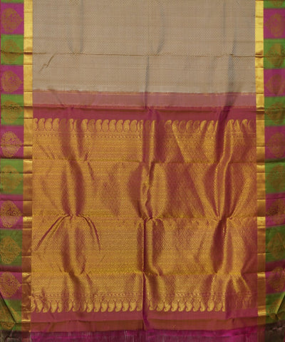 Beige, Pink, Green Handwoven Arni Silk Saree
