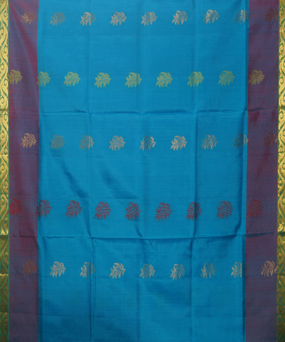 Sky Blue and Pink Handloom Soft Silk Saree