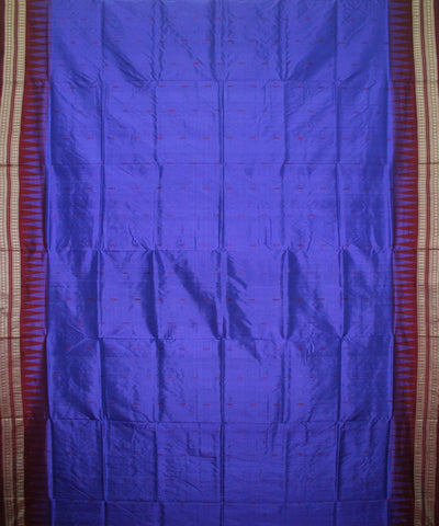 Handwoven Bomkai Silk Saree of Sonepur in Royal Blue and Burgundy