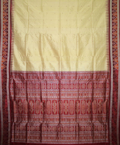 Handwoven Bomkai Silk Saree of Sonepur in Cream and Maroon