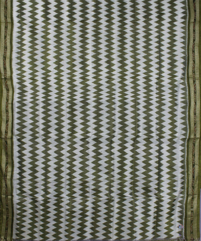 Handwoven White Green Zig Zag Khandua Saree
