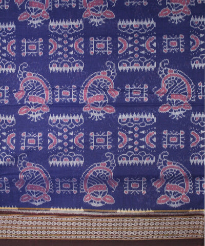 Handwoven Sambalpuri Ikat Cotton Saree in Blue and Coffee